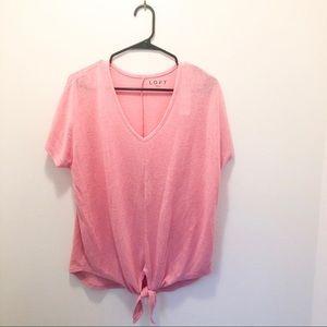 NWT LOFT darling pink Tie Hem Dolman Tee